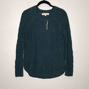 Ann Taylor Loft Teal Green Cable Knit Sweater PM